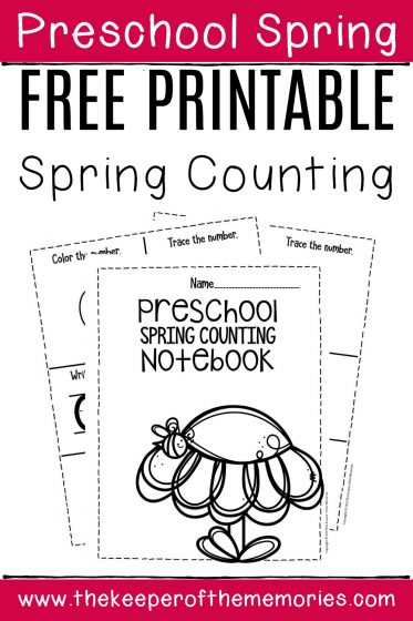 Free Printable Spring Counting Notebook with text: Preschool Spring Free Printable Spring Counting