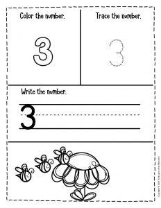 Numbers Spring Preschool Worksheets 3