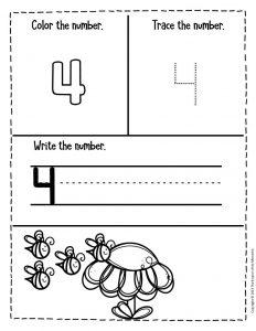 Numbers Spring Preschool Worksheets 4