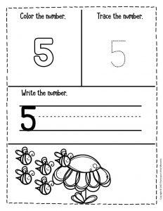 Numbers Spring Preschool Worksheets 5
