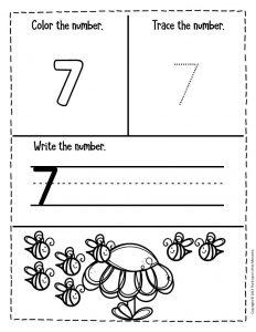 Numbers Spring Preschool Worksheets 7