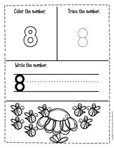 Numbers Spring Preschool Worksheets 8