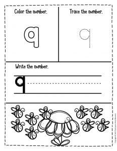 Numbers Spring Preschool Worksheets 9
