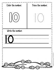 Numbers Summer Preschool Worksheets 10