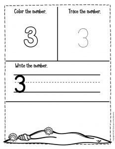Numbers Summer Preschool Worksheets 3
