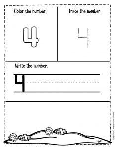 Numbers Summer Preschool Worksheets 4