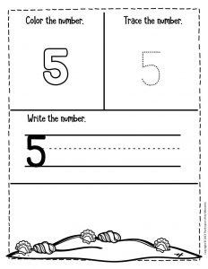 Numbers Summer Preschool Worksheets 5