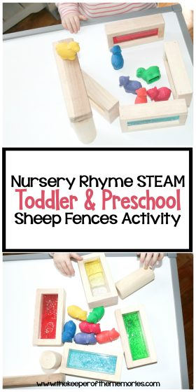 collage of sheep activity images with text: Nursery Rhyme STEAM Toddler & Preschool Sheep Fences Activity