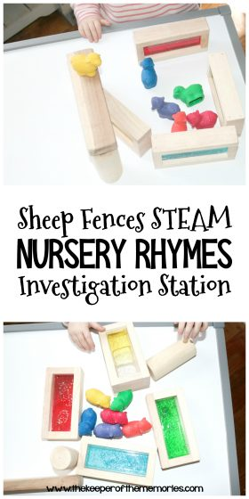 collage of sheep activity images with text: Sheep Fences STEAM Nursery Rhymes Investigation Station