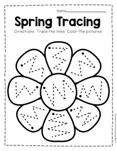 Tracing Spring Preschool Worksheets 1