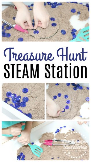 collage of preschool treasure hunt images with text: Treasure Hunt STEAM Station
