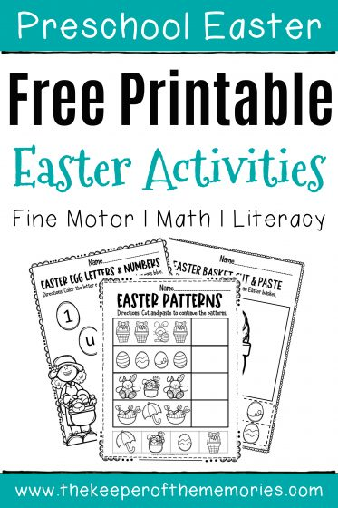 Free Easter Printables with text: Preschool Easter Free Printable Easter Activities Fine Motor Math Literacy