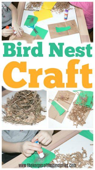 collage of Bird Nest Craft photos with text: Bird Nest Craft