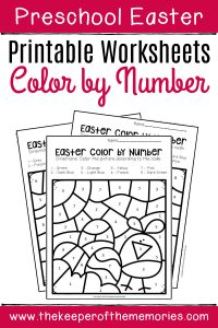 Color by Number Easter Preschool Worksheets