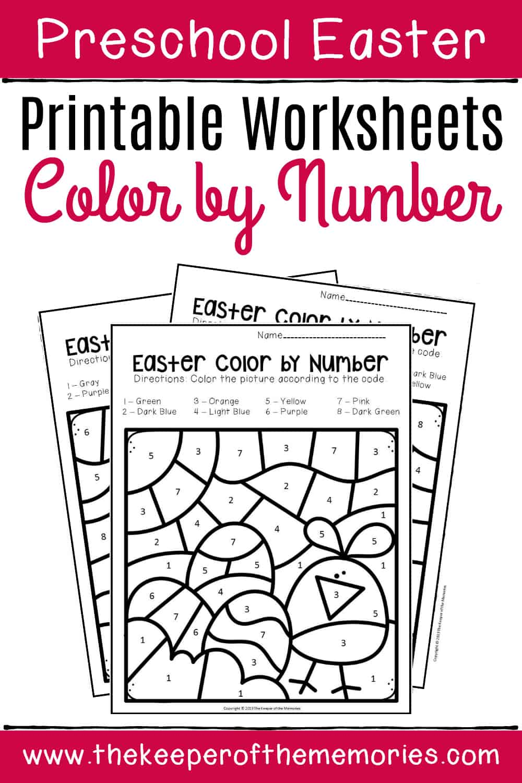 Color by Number Easter Preschool Worksheets