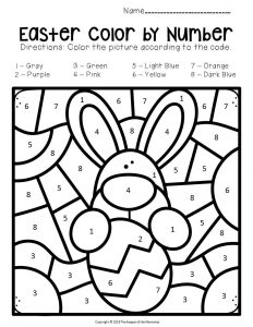 Color by Number Easter Preschool Worksheets Bunny with Egg