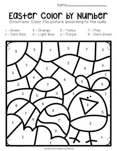 Color by Number Easter Preschool Worksheets Chick with Eggs