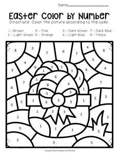 Color by Number Easter Preschool Worksheets Easter Basket
