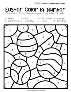 Color by Number Easter Preschool Worksheets Eggs