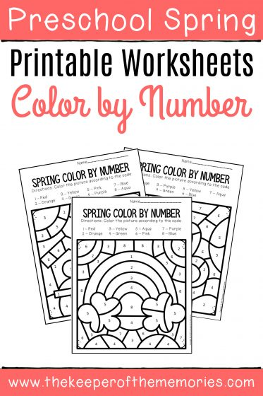 Color by Number Spring Preschool Worksheets with text: Preschool Spring Printable Worksheets Color by Number