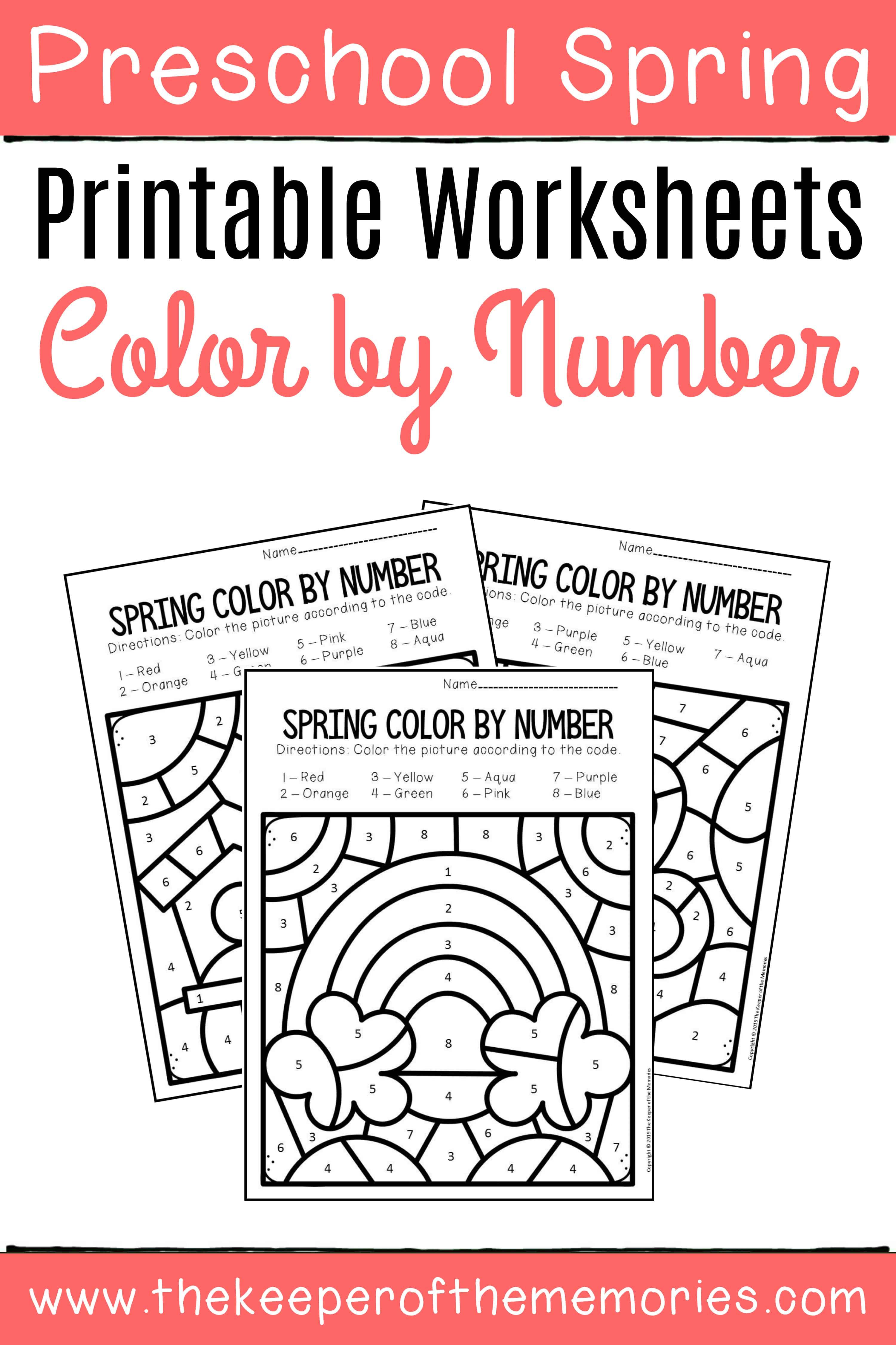 Color by Number Spring Preschool Worksheets