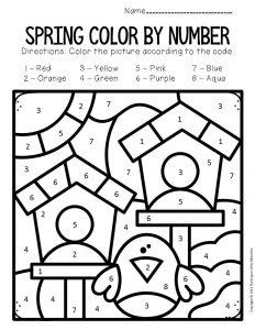 Color by Number Spring Preschool Worksheets Birdhouses