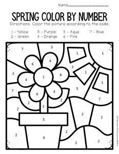 Color by Number Spring Preschool Worksheets Flower