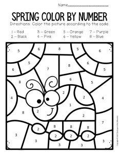 Color by Number Spring Preschool Worksheets Ladybug