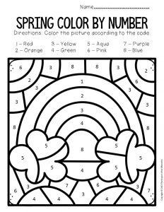 Color by Number Spring Preschool Worksheets Rainbow