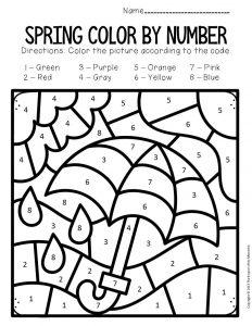 Color by Number Spring Preschool Worksheets Umbrella