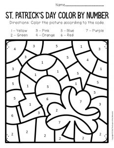 Color by Number St. Patrick's Day Preschool Worksheets Clover Horseshoe