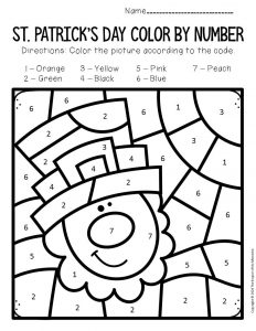 Color by Number St. Patrick's Day Preschool Worksheets Leprechaun