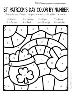 Color by Number St. Patrick's Day Preschool Worksheets Rainbow Pot of Gold