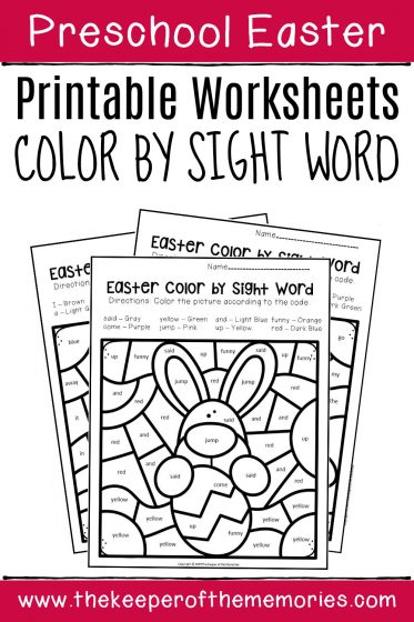 Easter Preschool Color by Sight Word with text: Preschool Easter Printable Worksheets Color by Sight Word