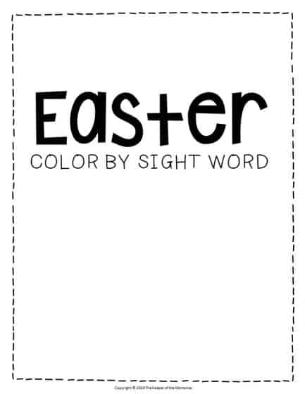 Color by Sight Word Easter Preschool Worksheets
