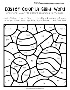 Color by Sight Word Easter Preschool Worksheets Easter Eggs