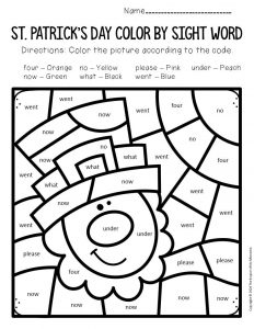 Color by Sight Word St. Patrick's Day Kindergarten Worksheets Leprechaun