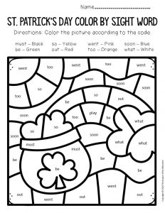 Color by Sight Word St. Patrick's Day Kindergarten Worksheets Rainbow Pot of Gold