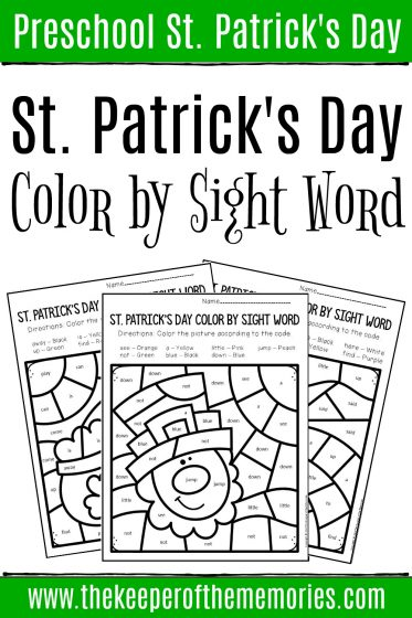 Color by Sight Word St. Patrick's Day Preschool Worksheets with text: Preschool St. Patrick's Day St. Patrick's Day Color by Sight Word