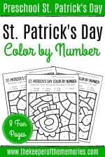 Color by Number St. Patrick's Day Preschool Worksheets