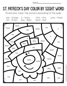 Color by Sight Word St. Patrick's Day Preschool Worksheets Leprechaun