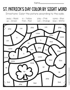 Color by Sight Word St. Patrick's Day Preschool Worksheets Rainbow Pot of Gold