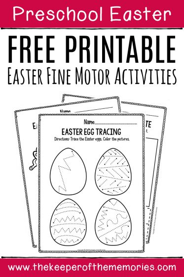 Fine Motor Printable Easter Activity Sheets with text: Preschool Easter Free Printable Easter Fine Motor Activities