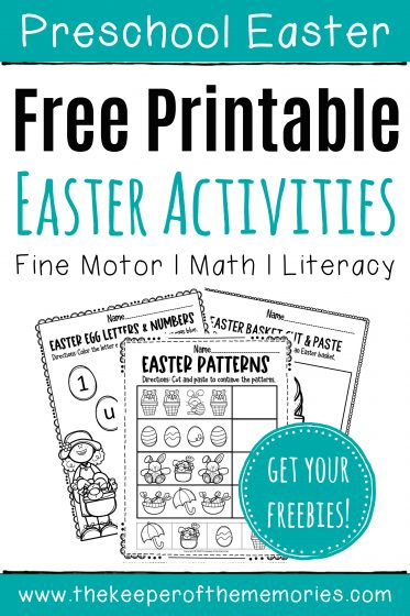 Free Easter Printables with text: Preschool Easter Free Printable Easter Activities Fine Motor Math Literacy Get Your Freebies!