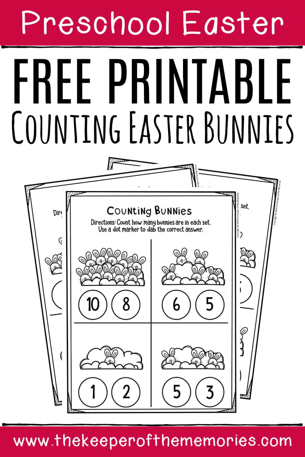 Counting Bunnies Free Printable Easter Activity Sheets