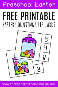 Free Printable Easter Counting Clip Cards with text: Preschool Easter Free Printable Easter Counting Clip Cards