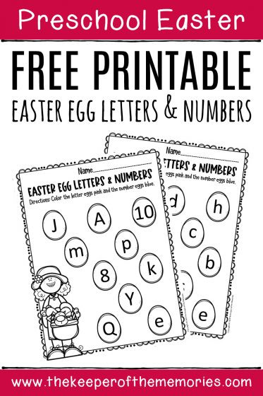 Free Printable Easter Egg Letters & Numbers Preschool Worksheets