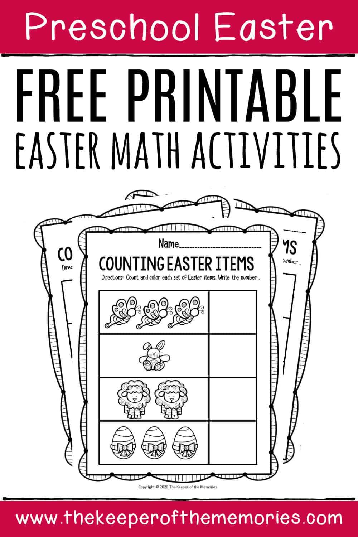Preschool Math Printable Easter Activities - The Keeper of the Memories