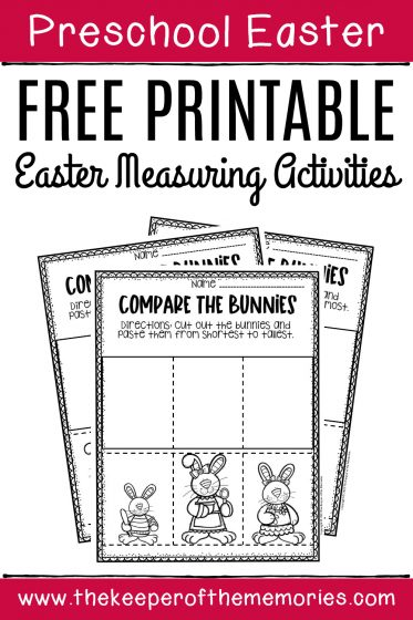 Free Printable Easter Measuring Activities Preschool Worksheets with text: Preschool Easter Free Printable Easter Measuring Activities