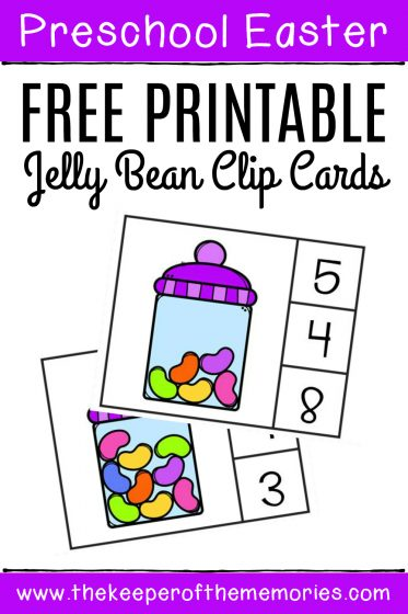 Free Printable Easter Counting Clip Cards with text: Preschool Easter Free Printable Jelly Bean Clip Cards